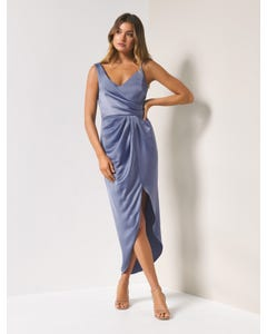 Hallie Drape Satin Midi Dress