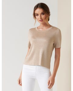 Evelyn Metallic Knit Tee