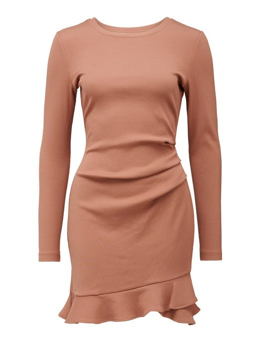 annie rib long-sleeve frill dress