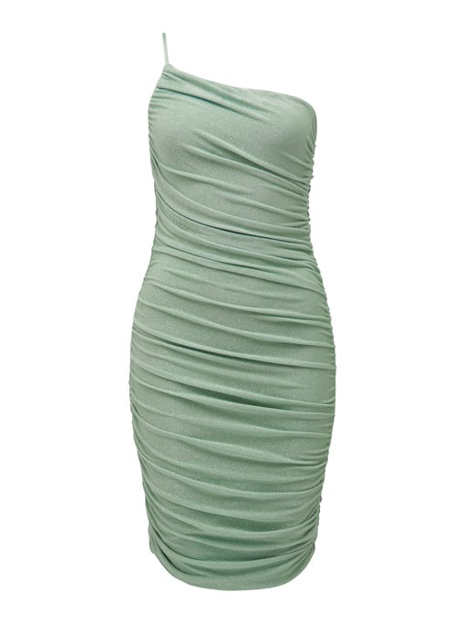 Amaya Ruched Glitter Midi Dress