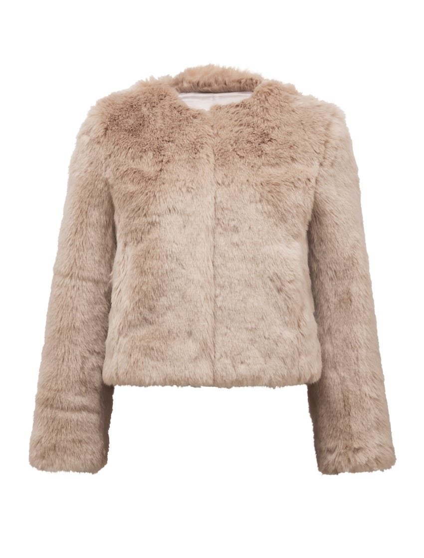 Angel Cropped Faux Fur Coat