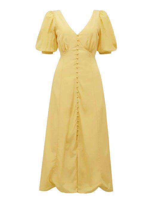Belle Puff-Sleeve Midi Dress