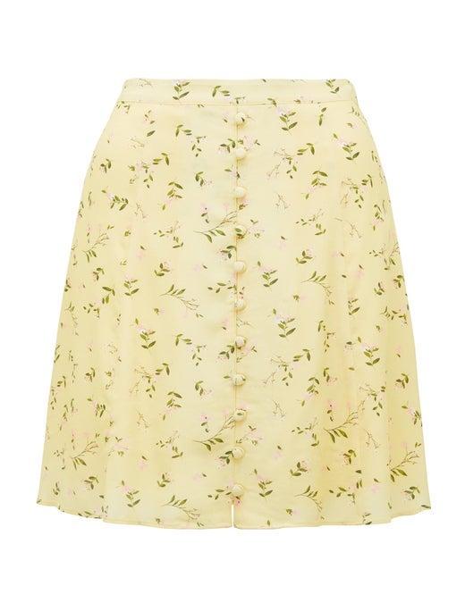 Saffron Button-Front Mini Skirt