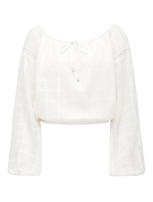 Viola Cotton Spliced Trim Blouse