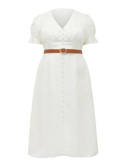Heather Curve Embroidered Midi Dress