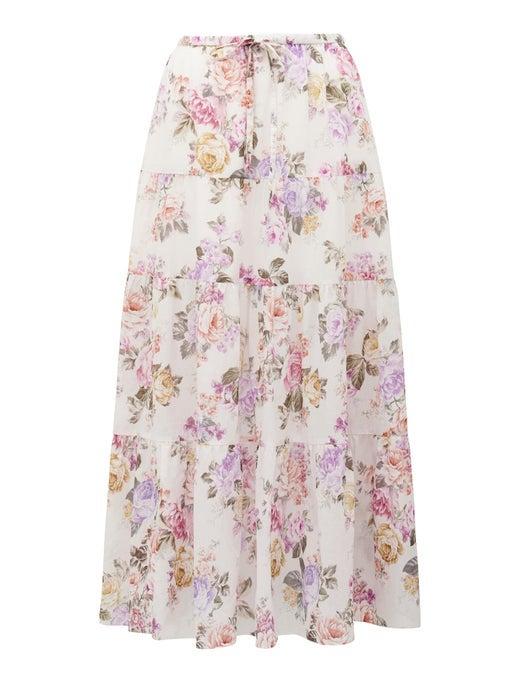 Tia Tiered Cotton Side Split Skirt